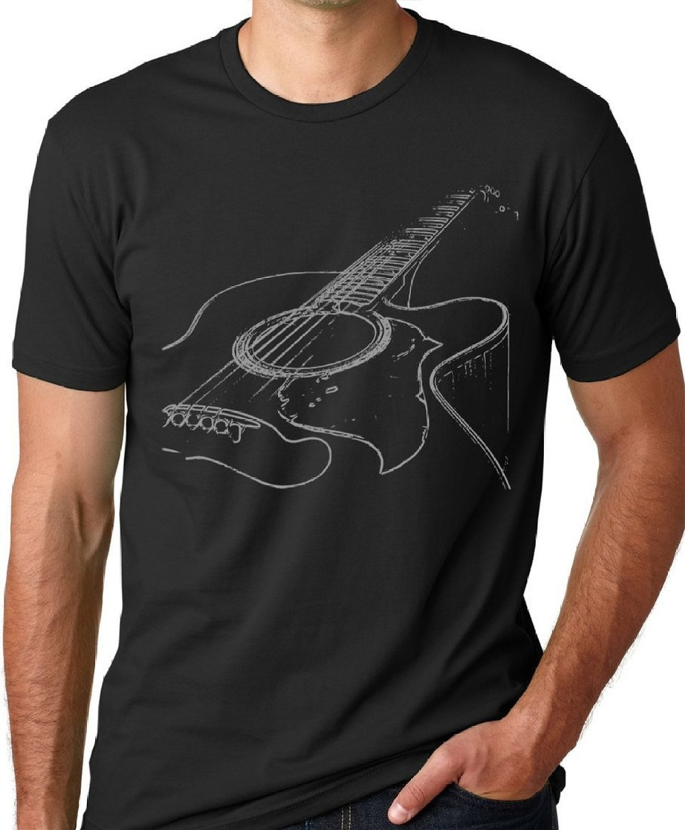 Free shipping 2017 Acoustic Guitar T-shirt Cool Musician Print Summer Tops Tees Plus Size