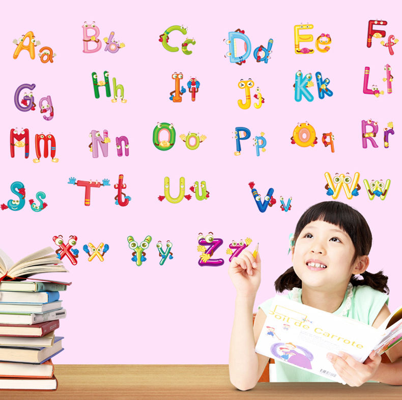 Online Shop Cartoon 26 Alphabet Letters Kids Room Wall Sticker Decal Nursery  Home Decor | Aliexpress Mobile