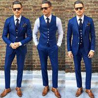 FOLOBE Costume Homme Customized Royal Blue Mens Suits Traje De Hombre Casual Slim Fit Men Suits Formal Business Suits
