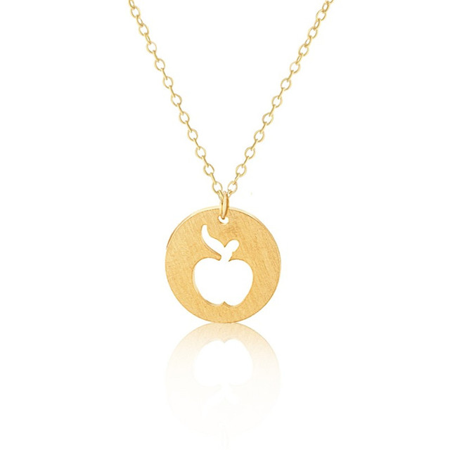 Collares mujer 2017 graduation jewelry gold color apple pendant collares mujer 2017 graduation jewelry gold color apple pendant necklaces stainless steel charm necklace for mentor mozeypictures Image collections