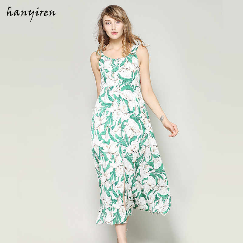 f2cb6d75012 Hanyiren Floral Print Blue Dress 2018 Boho Summer Casual Sexy Women Maxi  Long Fashion Backless Sleeveless