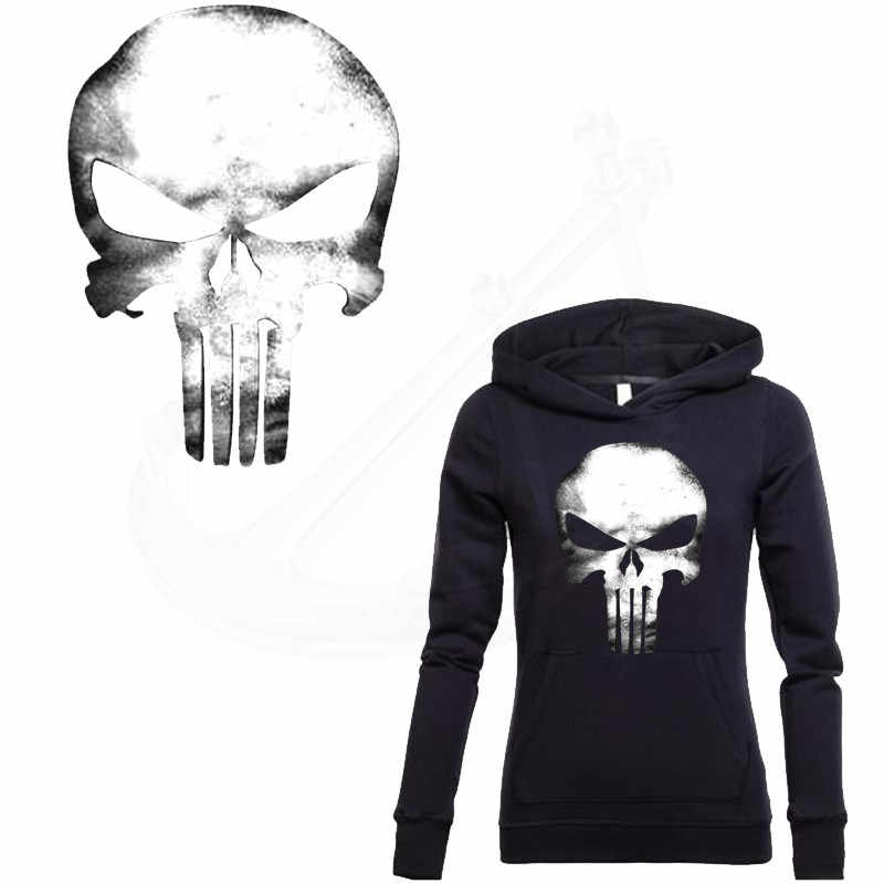 Calcomanías de calavera Punisher 32*19,2 cm parche para ropa A nivel lavable DIY camiseta sudaderas Decoración