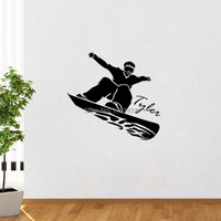 Custom Name Text Snowboard Ski 3 Wall Decals Vinyl Stickers Home Decor Living Room Wall Pictures