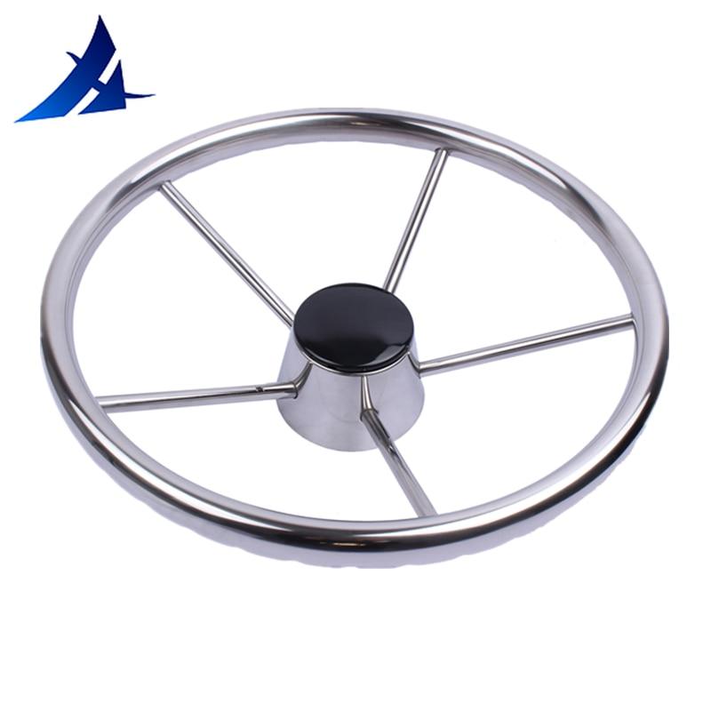 13.5''  5 spoke stainless steel steer wheel mirror polished marine boat yacht steering wheel boat accessories marine
