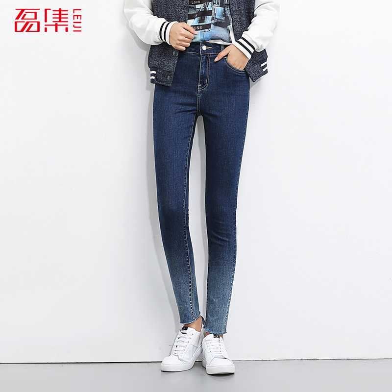2017 LEIJIJEANS NEW Arrival jeans women mid waist mid elastic jeans design 2 colors avaliable Skinny pencial jeans hot
