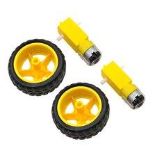 2 шт. маленький умный автомобиль шины колеса робот шасси комплект с DC для снижения скорости двигателя программируемая игрушка часть для детей