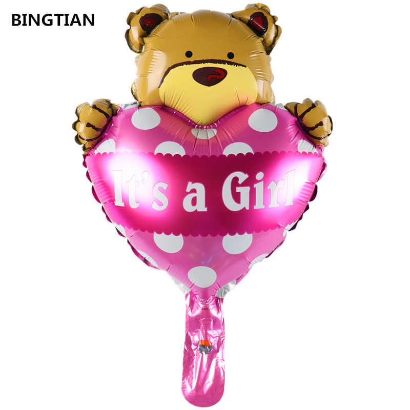 BINGTIAN หมีบอลลูนการ์ตูน happy วันเกิดตกแต่ง it's boy และสาวฟอยล์บอลลูนคลาสสิกของเล่นบอลลูน