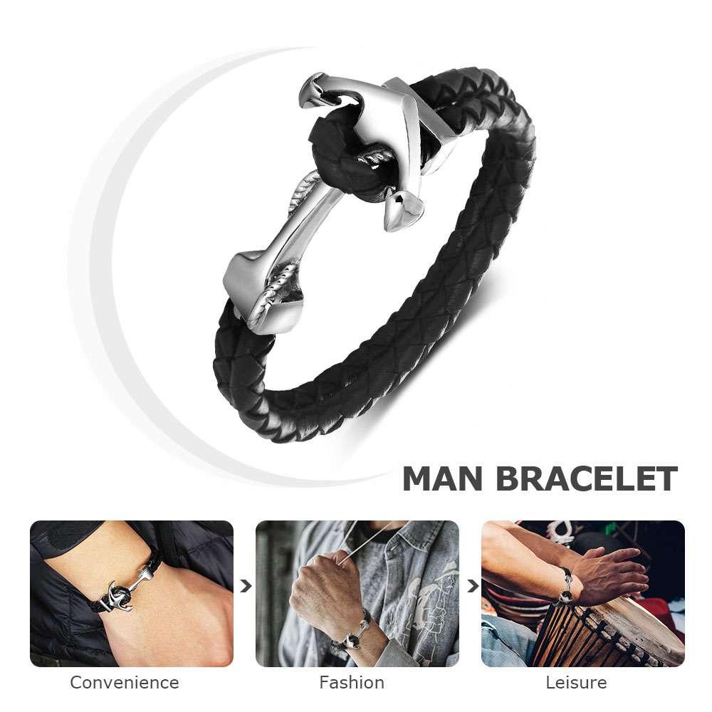 натуральная кожа якорь формы из нержавеющей стали и браслеты мужской панк ювелирные изделия 215 мм длина мужской браслет 2017 новый