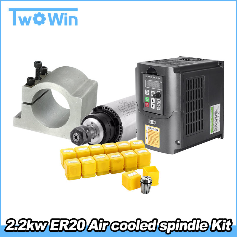 2 2KW Air Cooled Spindle Kit CNC 2 2KW Machine Tool Spindle Motor 220V Inveter 80mm