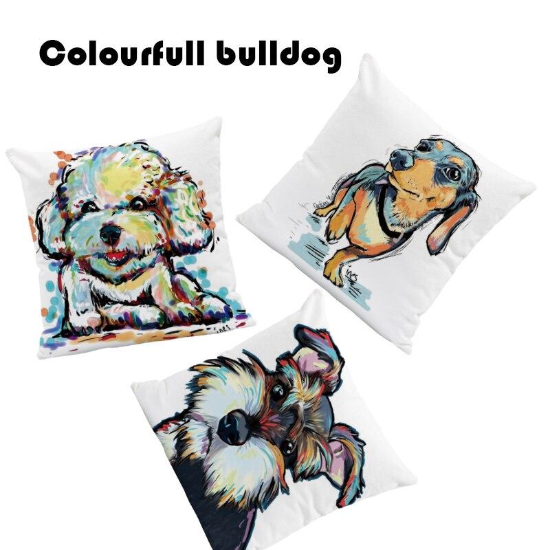 Schnauzer Chihuahua Cushion Golden Retriever Labrador Pillow Dachshund Dog Lounge Mat Throw Pillow White Blue 18X18 Velvet Funny
