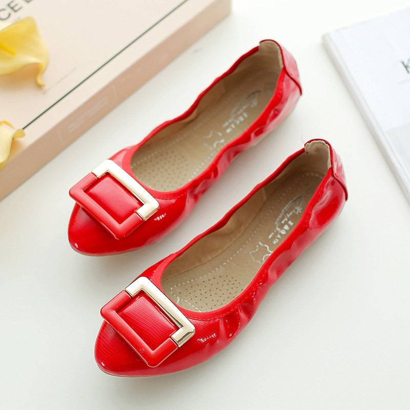 ZHENG PIN JIA REN Ladies Shoes Egg Roll Shoes T28 Pointed Metal Buckle Single Shoes Women Shallow Mouth Comfortable Lady Shoes in Women's Pumps from