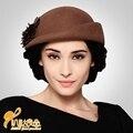 Año nuevo Mujeres de La Vendimia Señora de Lana de Moda Lindo Fieltro Bowler Sombrero de Derby Cap Gota Sombrero Fedora B-0776