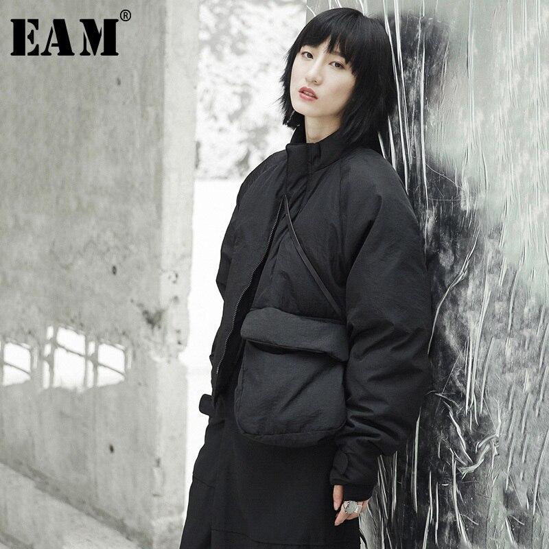 [EAM] 2019 новая весенняя стойка воротник черный один карман стежка Большой размер теплое хлопковое Стеганое пальто Женская куртка Мода JI51