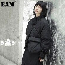 [EAM] 2019 חדש אביב צווארון עומד שחור יחיד כיס תפר גדול גודל חם כותנה מרופדת מעיל נשים מעיל אופנה JI51