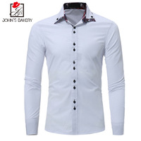 2017 New Fashion Brand Men Shirt Collar Fight Leather Dress Shirt Long Sleeve Slim Fit Camisa