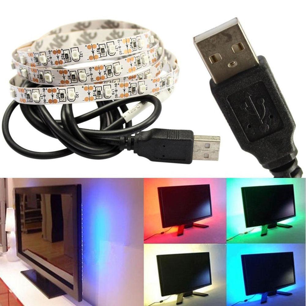 1Pcs 50cm 1M 2M Fita De 5V USB Cable RGB LED Strip light String 3528 SMD