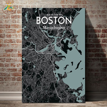 Graphic Art Night City Map Wall Canvas Framed Print Painting Vintage Posters and Prints Pictures Modern Home Decoration