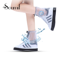 Soumit Reusable Rainproof Waterproof Shoe Covers For Men Women Flat Slip Resistant Galocha Overshoes Rain Boots