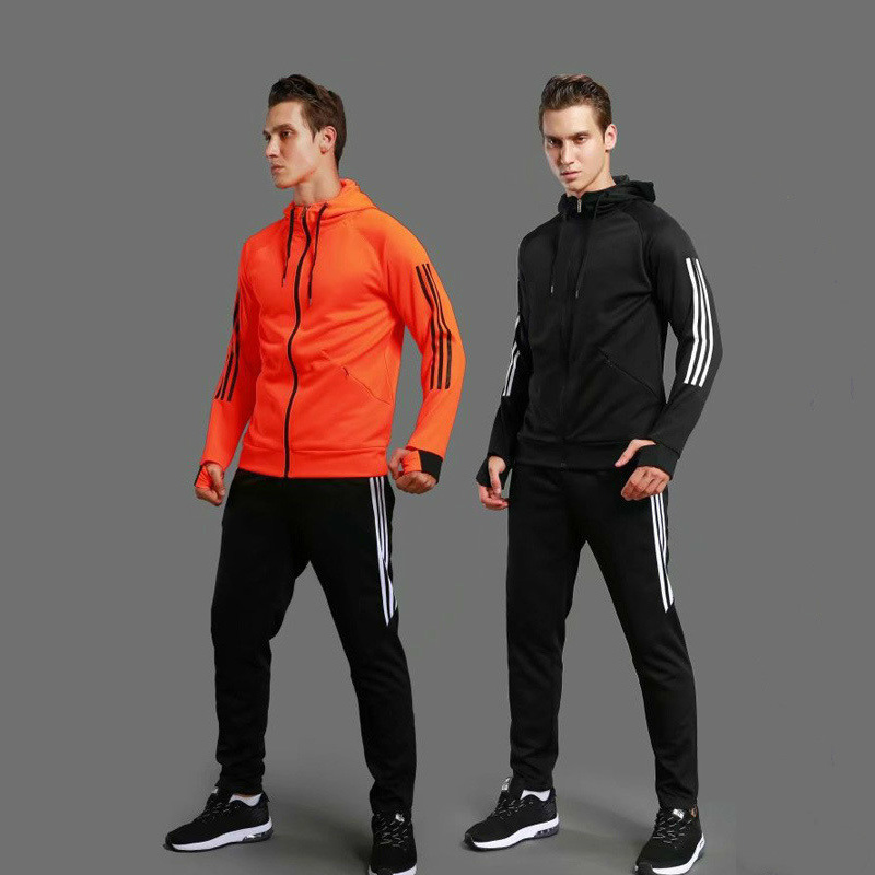 Sports Set Fitness Gym Training Soccer Suit Hooded Long Sleeve Tracksuit Sportswear Basketball Running Sets Men Jacket + Pants new 2017 men s basketball sportswear suit sets jacket and shorts personality print custom logo training wear
