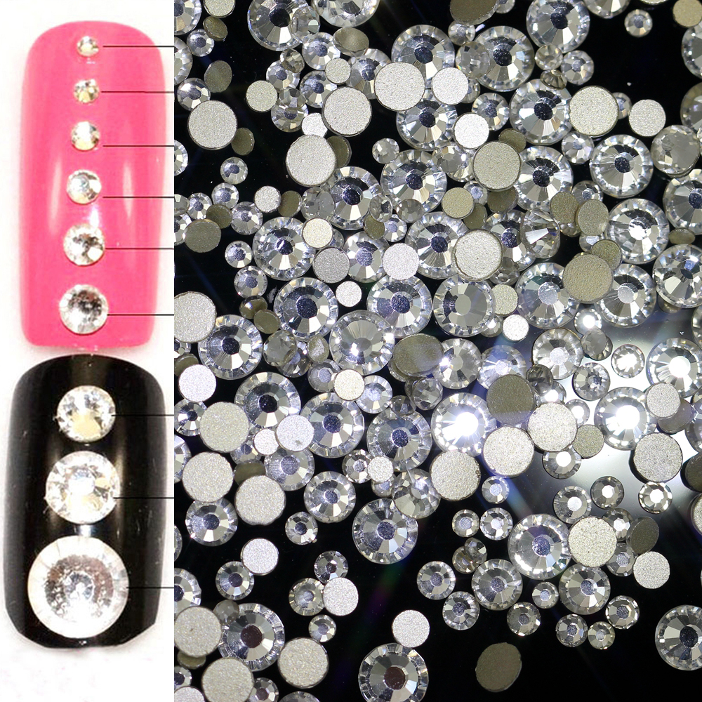 Mix ss3-ss30 Crystal AB and Clear Shinning Designs Non hotfix Flatback Nail Rhinestones 3d Nail Art Decorations Glitter Gems gitter 2 6mm citrine ab color resin rhinestones 14 facets round flatback non hotfix beads for 3d nail art decorations diy design