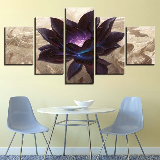 HD Printed Modern Canvas Poster Frames Living Room Decor 5 Pieces Black Lotus Paintings Modular Wall Art Abstract Flower Picture
