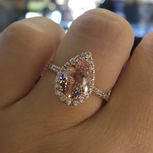 IPARAM Rose Gold Color Cubic Zirconia Ring Pear Shape Art Deco Engagement Wedding Rings Birthstone Ring Promise Rings for Women(China)