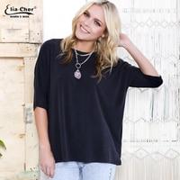 Half Sleeve T-shirt Women Tops   Eliacher brand Chic black Lady Top Plus Size Casual Women Clothing
