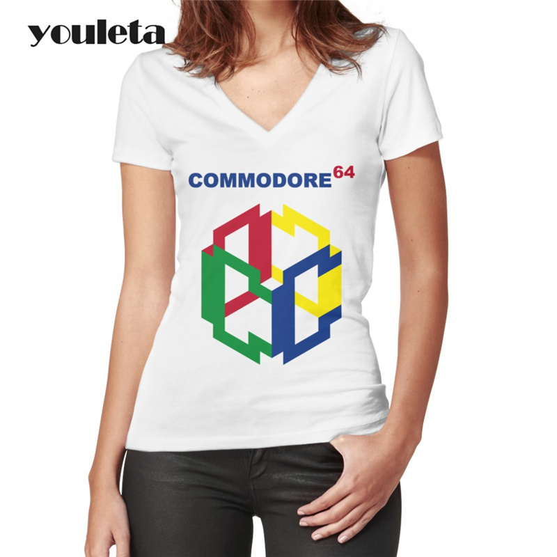 2018 новые летние модные топы Street Стиль Повседневное commodore 64 принт Рубашка с короткими рукавами Базовая Универсальная футболка для Для женщин