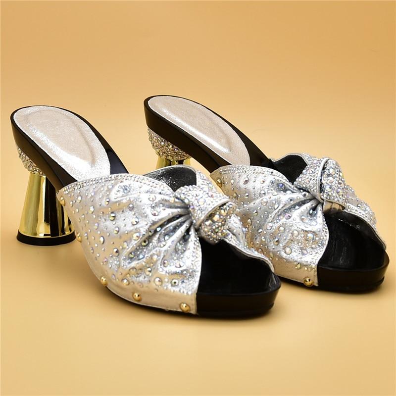 De Fête Femmes Conception Dernière Italiennes Avec Sac Chaussures or Pour La En Et Décoré Strass rouge Noir Nigérian Mariage argent Ensemble z5dPwdq
