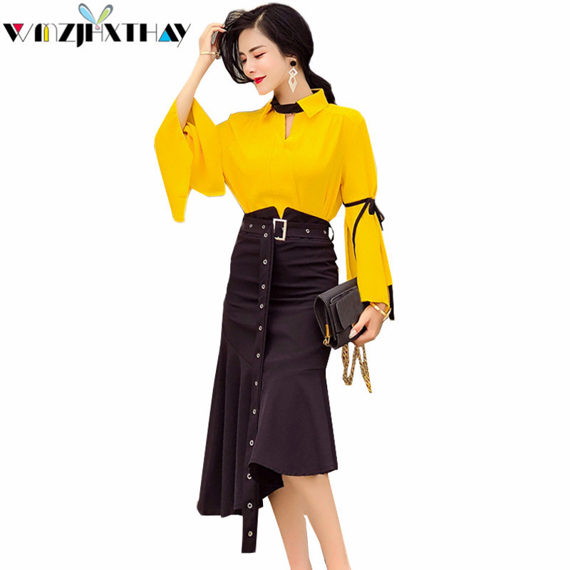 2 Piece Set Women Clothing 2018 Spring Summer Fashion Elegant Flare Sleeve Top Irregular Slim Fish Tail Skirt Sweet Suit JXT464