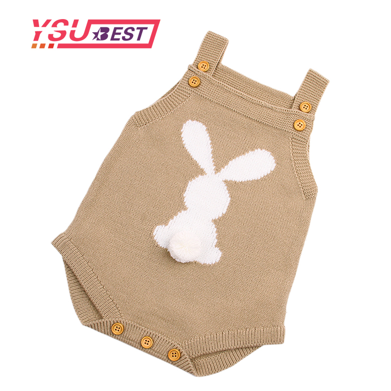 2019 Cute Rabbit Knit   Rompers   Children's Winter Baby Girls Sleevless Sunsuit Outfit Clothes Toddler Newborn One-Pieces Jumpsuit