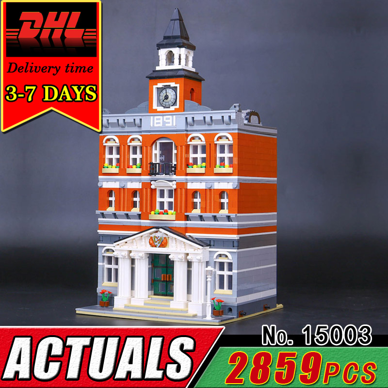 DHL LEPIN 15003 The Town Hall Model Building Blocks Set Compitable 10224 Bricks Children Educational Street View Toys Christmas lepin city town city square building blocks sets bricks kids model kids toys for children marvel compatible legoe