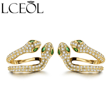 LCEOL New Trendy Green Eyes Cubic Zirconia Snake Earrings Women Gold Color Animal
