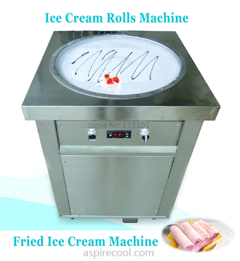 Stainless Steel Fried Ice Cream Machine Single Pan Freezer ice pan machine with defrost for Yummy Ice Cream Rolls Making free air ship ce stainless steel fried ice cream machine single pan freezer ice pan machine with defrost for ice cream rolls