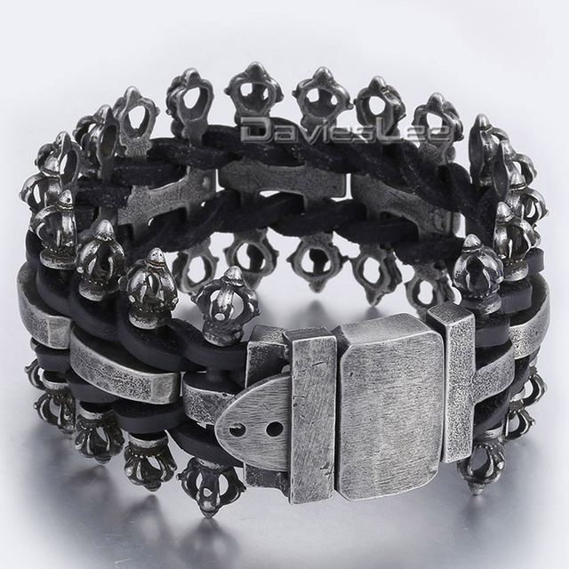 Mens Chain Cross Clasp H Link Braided Genuine Leather Silver Tone 316L Stainless Steel Bracelet Length Adjustable LHB328