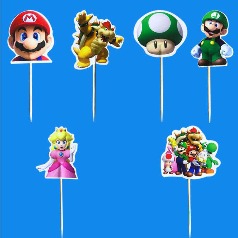 24pcs Cartoon theme party Mario cake topper kids happy birthday party cake decoration baby shower party supplies Cupcake topper