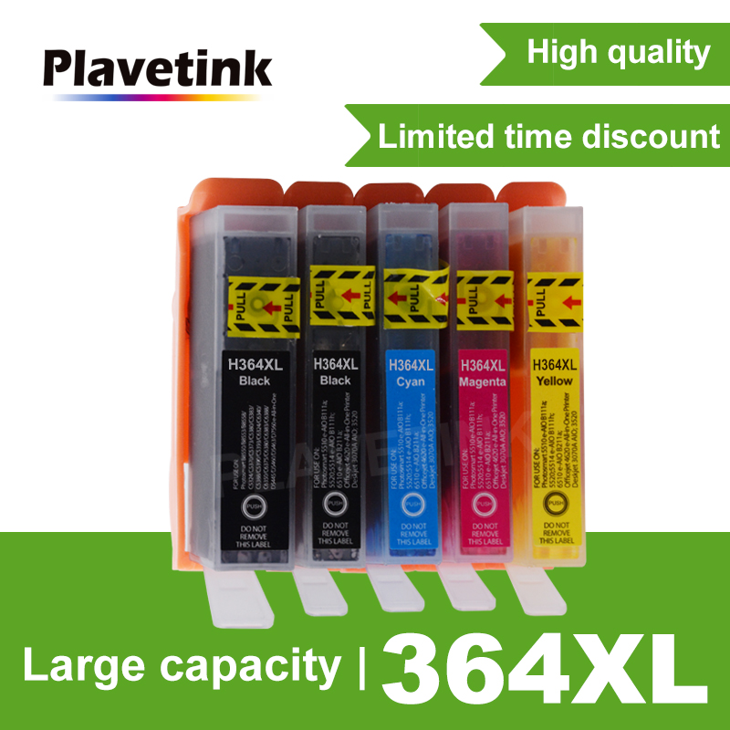 Plavetink 5 Color 364XL Compatible Ink Cartridge Replacement For <font><b>HP</b></font> <font><b>364</b></font> XL Photosmart 7510 C5380 C6380 C309a C310a Printer image