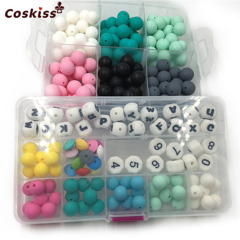 Mixed Color Natural Round Food Grade Silicone Beads Letters Digital Abacus Silicone Beads For Necklace Baby Teether Toys Set