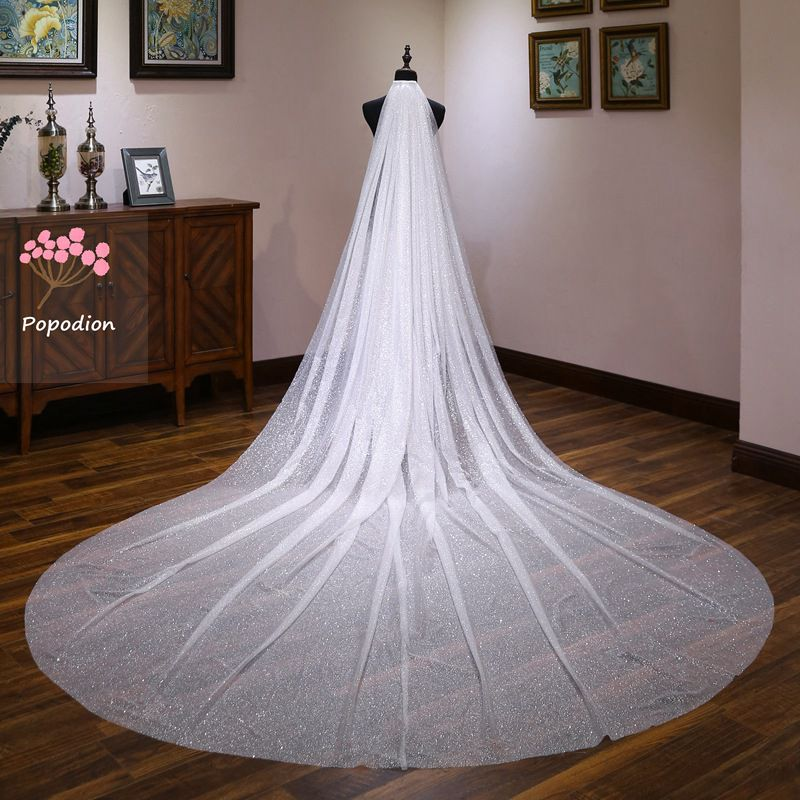 Popodion wedding accessories 3.5 meters wedding veil cathedral wedding veil bridal long veils voile mariage WAS10142