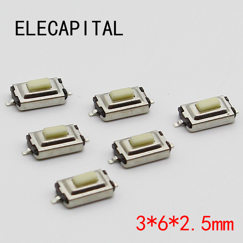50pcs/lot SMT 3x6x2.5MM 2PIN Tactile Tact Push Button Micro Switch G73 Self-reset Momentary Free Shipping 50pcs micro push button 3x4x2 5 4feet u type smt tact button switch mounting for car system cigarette tool