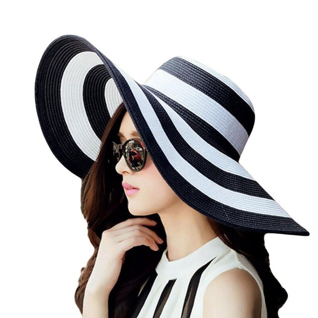 Women's Foldable Big Brim Striped Straw Sun Hat Wide Large Brim Cap Summer Travel Beach Floppy Hats Sun Protection Sunshade Caps