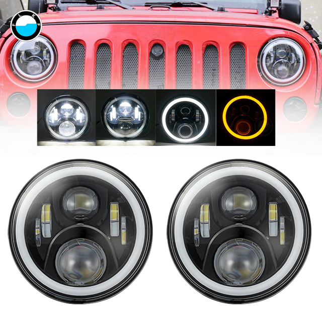 7 Inch Led Headlight For Hummer H1 H2 7'' Halo Angel eyes DRL Amber turn signal led headlight for 07-15 Jeep Wrangler JK TJ.