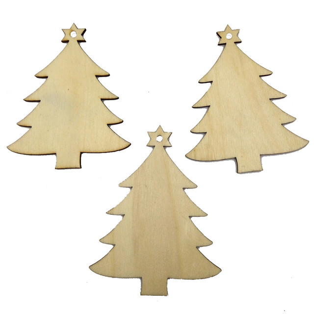 10Pcs Christmas Tree Wood Chip Tree Ornaments Xmas Hanging Pendant  Decoration Gifts Wholesale Free Shipping 30RH30 - 10Pcs Christmas Tree Wood Chip Tree Ornaments Xmas Hanging Pendant