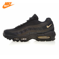NIKE AIR MAX 95 PREMIUM Men's Running Shoes, Outdoor Sneakers Shoes, Black Gold, Breathable Non slip Heightened 924478 003