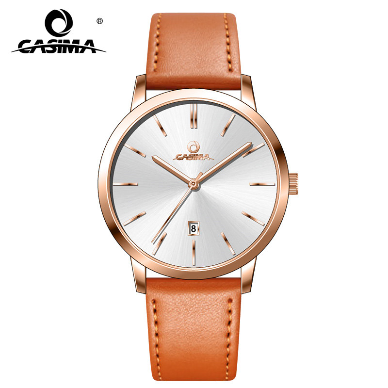 CASIMA Thin Silver Gold Watch Man Ladies Couple Lover's Quartz Wrist Watch For Men Women Calendar Clock Saat Relogio Masculino