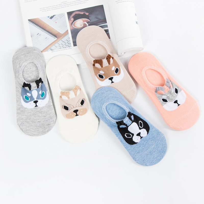 5pairs/lot 3D Women Cartoon Dogs Girls Cute   Socks   Fashion Animal Cotton Breathable Silicone   Sock