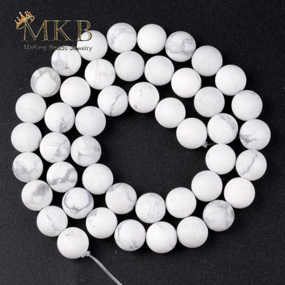 Natuurlijke Matte Witte Howliet Turkoois Stenen Kralen Voor Sieraden Maken 6/8/10/12mm 15 inches groothandel Perles Bijoux
