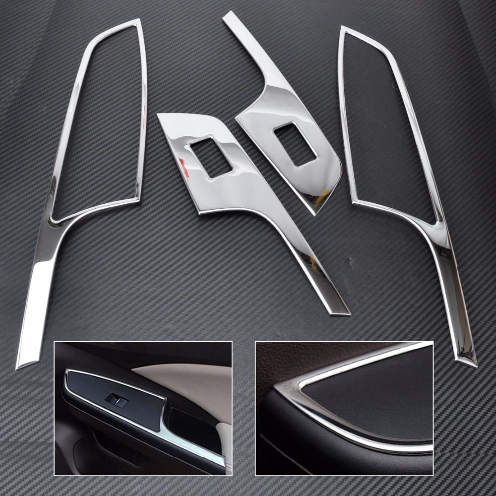 CITALL New 4pcs ABS Chrome Car Interior Door Window Switch Panel Molding Trim Cover For Honda CR-V CRV 2012 2013 2014 2015 accessories fit for honda crv cr v 2012 2013 2014 2015 chrome side door body molding trim cover line garnish protector