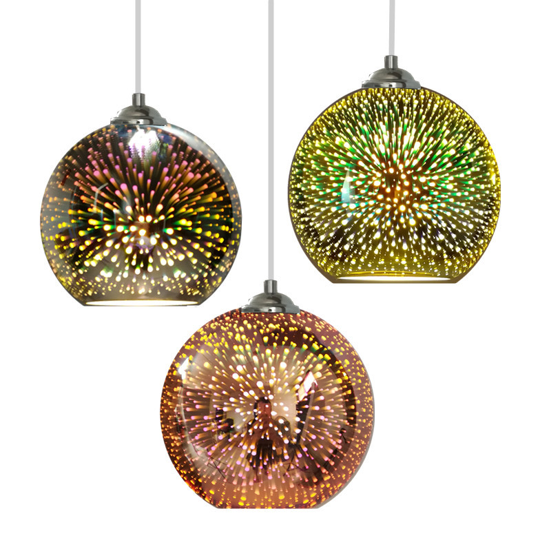 Creative verre pendentif lumière galvanoplastie 3D feu d'artifice lampe suspendue Chrome abat-jour E27 titulaire pendentif lampe décoration éclairage