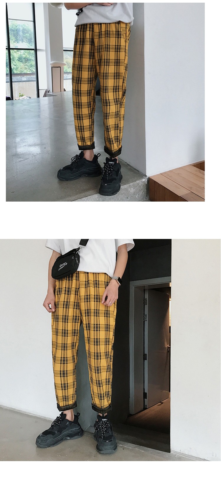 HTB1IHKmbynrK1Rjy1Xcq6yeDVXaj LAPPSTER Streetwear Yellow Plaid Pants Men Joggers 2019 Man Casual Straight Harem Pants Men Korean Hip Hop Track Pants Plus Size